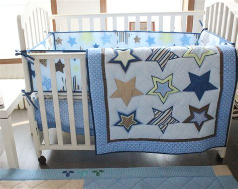 Crib Bed Sets For Boys 7pcs Blue Baby Cot Crib Bedding Set For Boys Nursery Bed Kit Set Embroidery Quilt Fitted