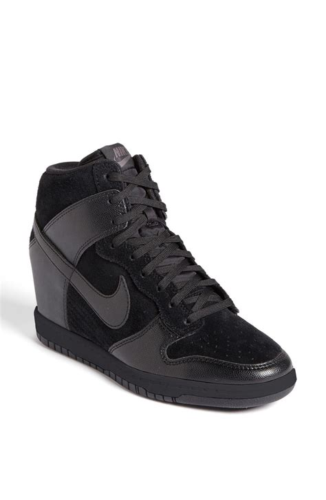 black sneaker wedge nike dunk sky hi in black lyst
