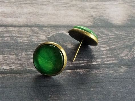 Green Leaf Glass Stud EARRINGS / Leaf Studs / Botanical