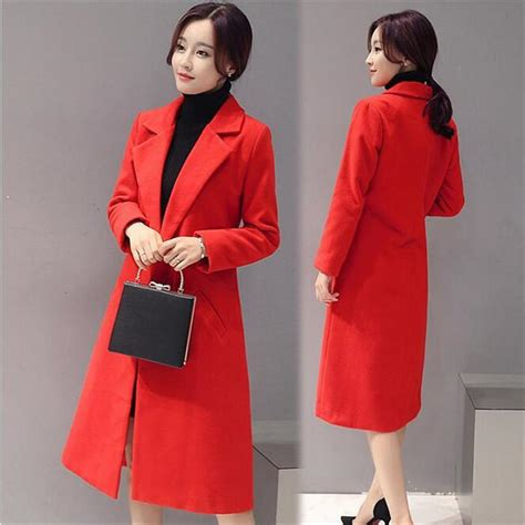 Wool Blend Lapel Coat winter coat 2016 autume lapel wool blend coats plus