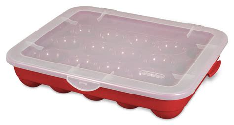 red sterilite plastic 20 christmas ornament storage case