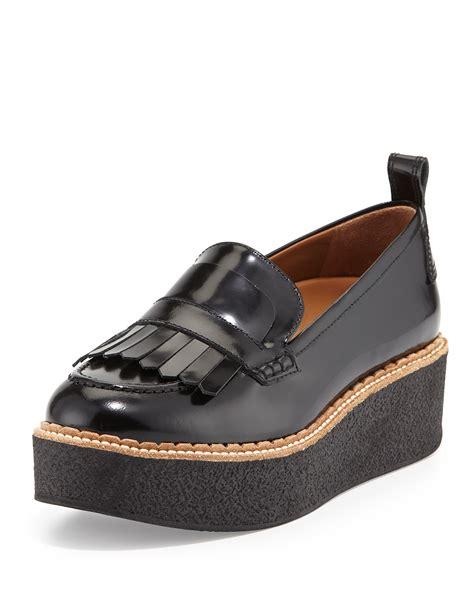 platform loafers flamingos wellington leather fringe platform loafer in