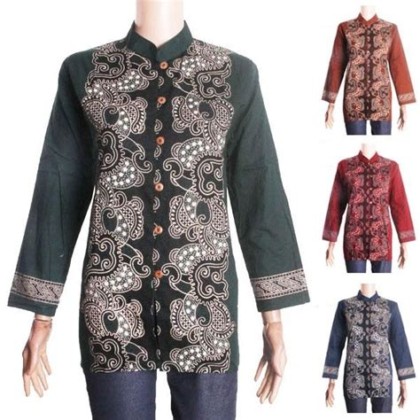 Atasan Wanita Blus Katun Kemeja Lengan Panjang G 039 1593 baju wanita blus kemeja wanita lengan panjang motif batik nirmala elevenia
