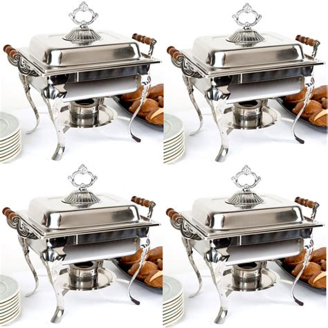 4 pack catering classic stainless steel chafer chafing