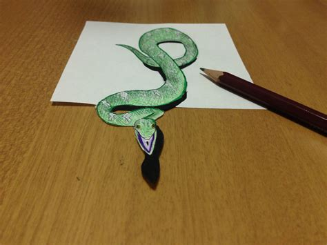 How To Make A 3d Snake Out Of Paper - freehand 3d snake drawing anamorphic illusion