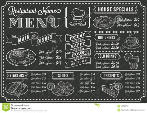 Chalkboard Restaurant Menu Template Stock Vector Chalkboard Menu Template Free