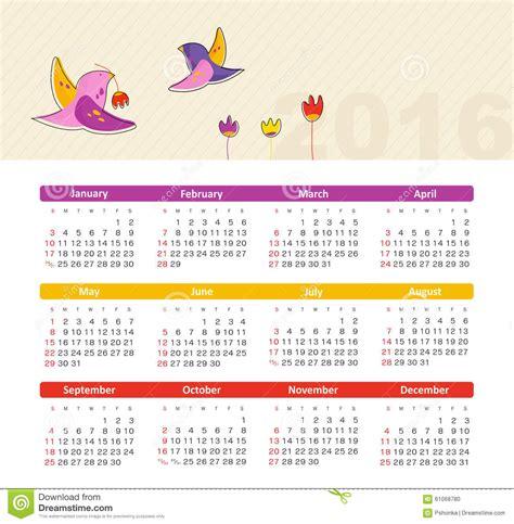 Calendrier Janvier 2016 Avec Numéro De Semaine Calendrier Pour 2016 Avec L Oiseau La Semaine Commence