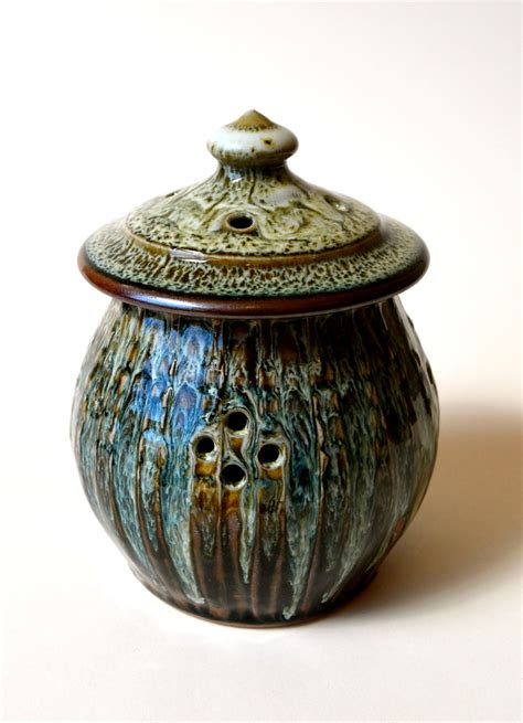 Handcrafted Dinnerware - garlic keeper handmade stoneware pottery garlic keeper