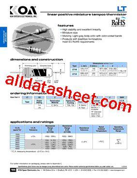 transistor a102 pdf lt16ct26a102j3600 datasheet pdf koa speer electronics inc