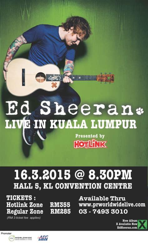 ed sheeran concert malaysia hotlink presents ed sheeran the script concerts in malaysia