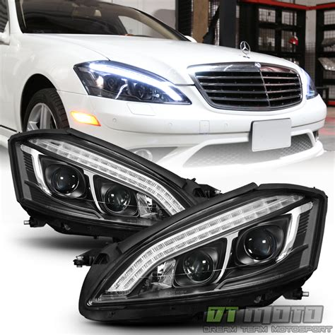mercedes led headlights halogen model black 2007 2013 mercedes w221 led drl