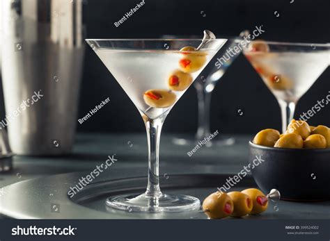 vodka martini with olives classic shaken dry vodka martini olives stock photo