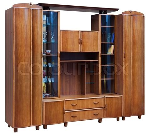 Wooden Cupboard Wooden Cupboard With Glass Doors Isolated On White Stock
