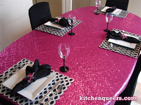 pink and silver table kitchenqueerscom kq pink glitz with black white and black