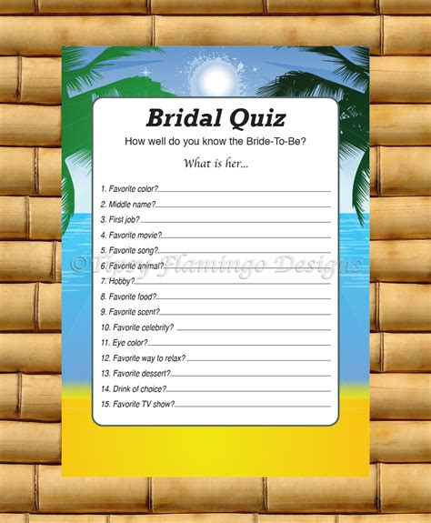 wedding themes quiz beach theme wedding bridal shower game how well do you