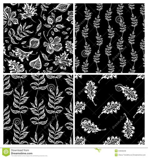 nature pattern black and white vector set of seamless nature patterns stock vector