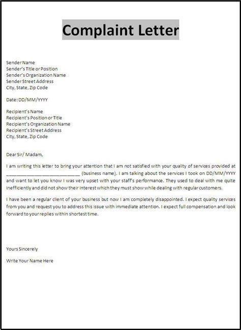 complaint letter template business letter template