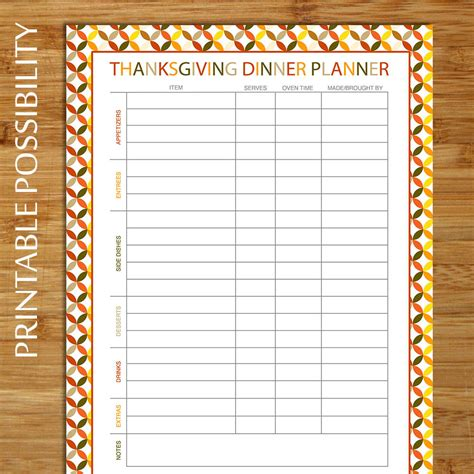 thanksgiving meal planner template thanksgiving dinner planner potluck dinner planner meal