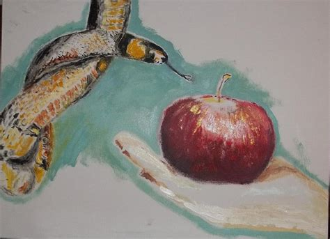 snake apple snake and apple painting by joseph falco