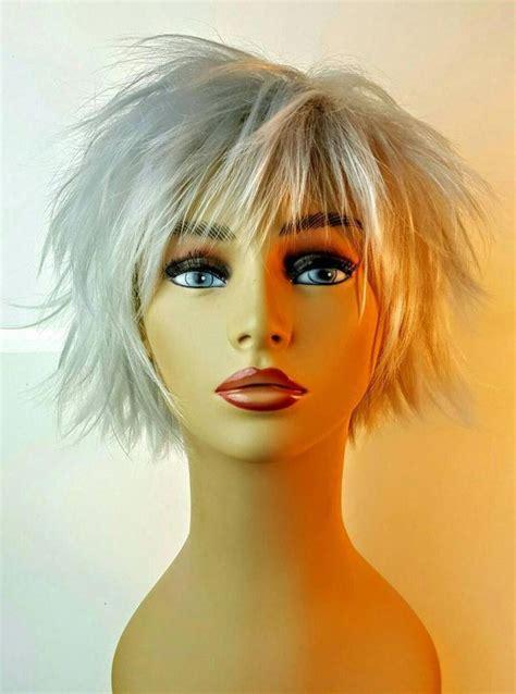 short spiky platinum bob wig silver choppy layered bob