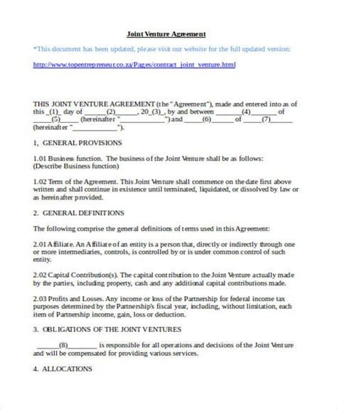 joint venture partnership agreement template 60 sle agreements in word
