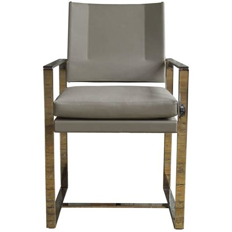 Leather And Steel Dining Chairs Maclaren Type 2 Dining Chair In Polished Stainless Steel And Light Grey Leather For Sale At 1stdibs