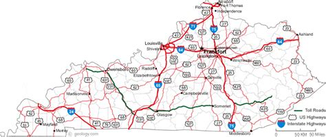 kentucky map counties roads map of kentucky