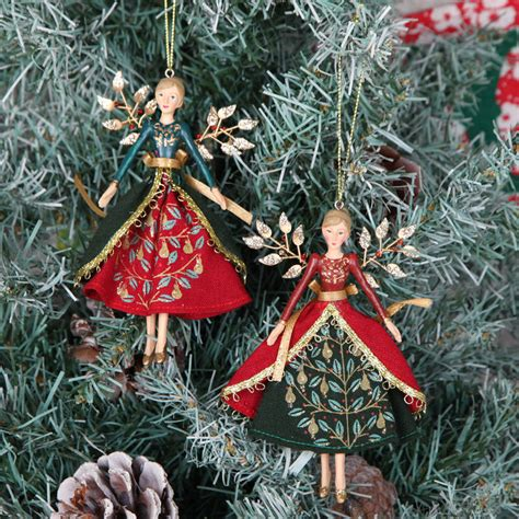 traditional fairy angel christmas tree decorations by red