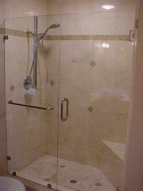 Inline Frameless Shower Door Provided By Super Glass Shower Door Bar