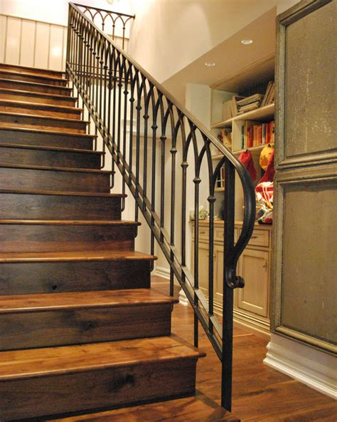 Stair railing traditional staircase phoenix by grizzly iron