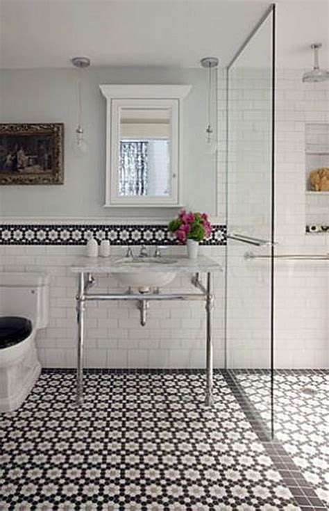 bathroom tile ideas black and white 37 black and white hexagon bathroom floor tile ideas and