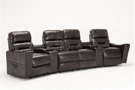 modern home theater chaise console reclining brown 4 seat leather reclining sofa thesofa