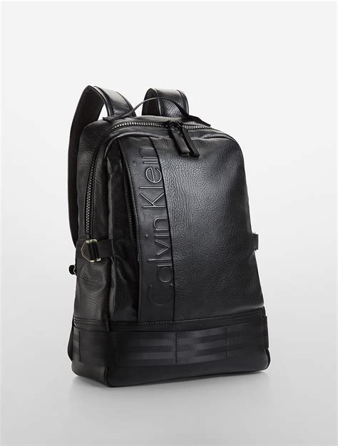 Ck Leather lyst calvin klein pilot leather backpack in black