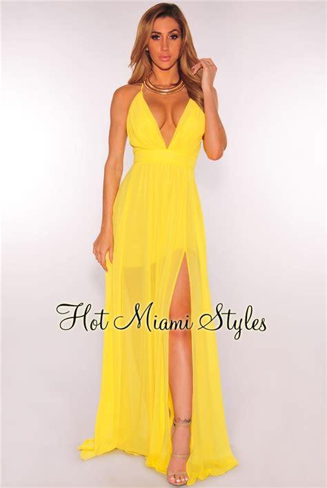 Yellow CrissCross Back High Front Slit Maxi Dress