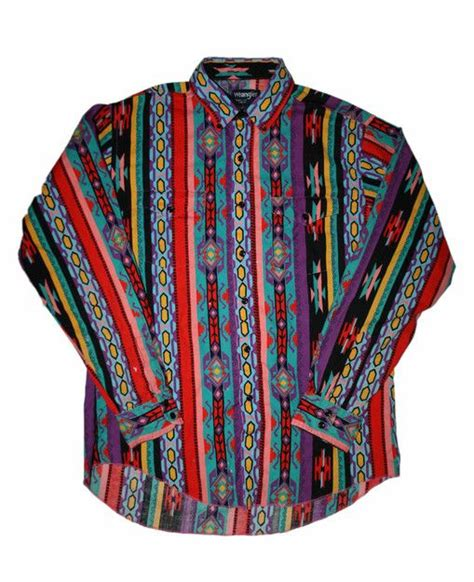 Vintage 90s Colorful Wrangler Button Down Shirt Mens Size