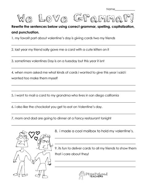 printable english worksheets for third grade valentine s day grammar free worksheet for 3rd grade and