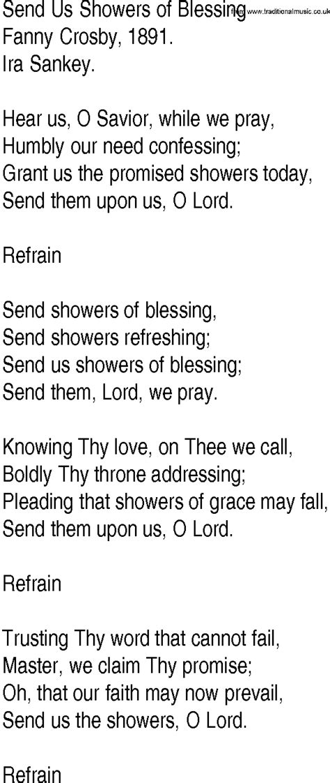 Showers Of Blessings Lyrics by Hymn And Gospel Song Lyrics For Send Us Showers Of