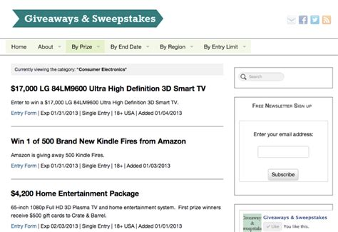 Giveaways And Sweepstakes Directory - giveaways sweepstakes giveaways sweepstakes contests