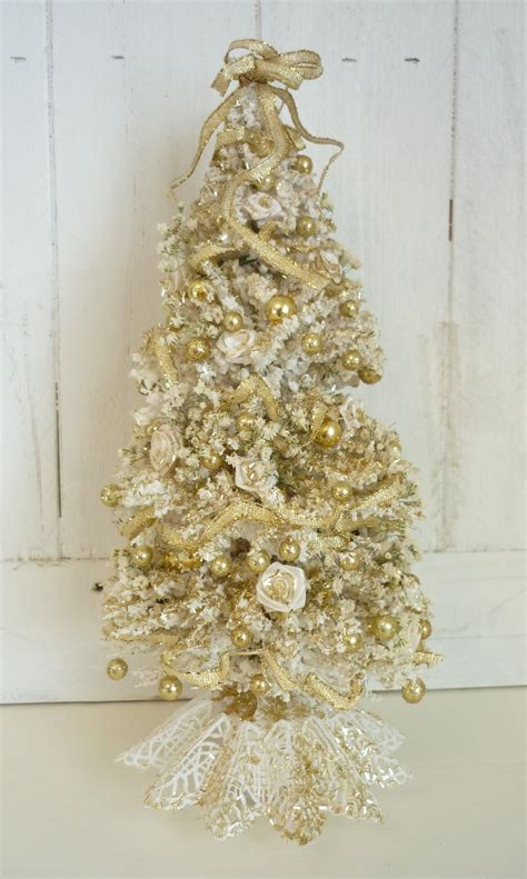 elegant white and gold christmas tree dollhouse by