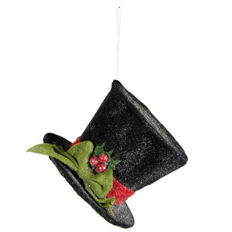 4 quot black frosted top hat ornament r73126 craftoutlet com