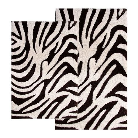 zebra print bathroom rugs chesapeake merchandising 21 in x 34 in and 24 in x 40 in 2 zebra bath rug set in