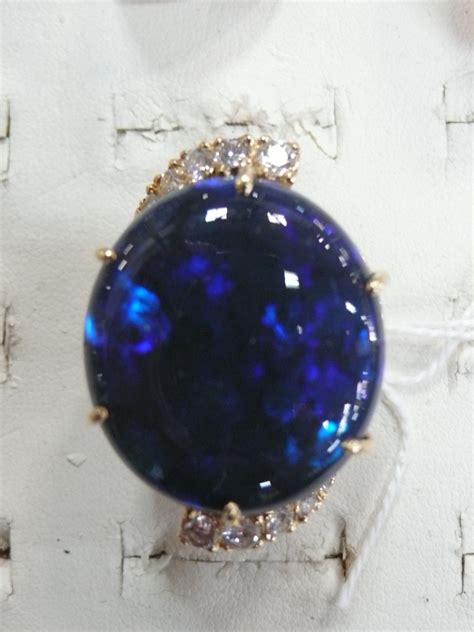 dark blue opal dark blue opal ring with ten antiques and collectables