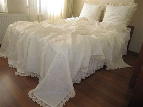 cream lace comforter linen bed cover coverlet solid ivory cream cotton tulle