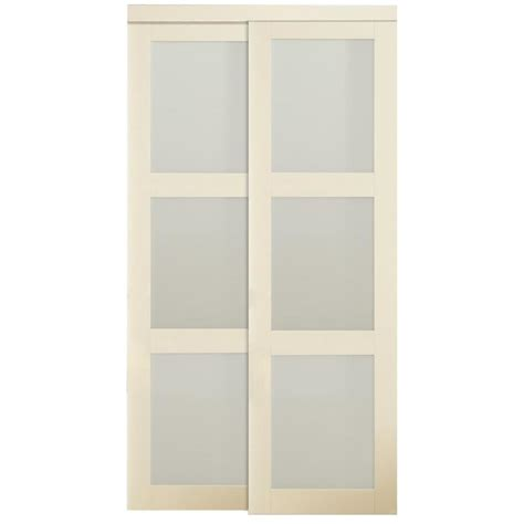 Frosted Glass Sliding Doors Interior Shop Reliabilt White 3 Lite Frosted Glass Sliding Closet Interior Door Common 60 In X 80
