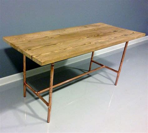 reclaimed wood table copper industrial pipe legs wood