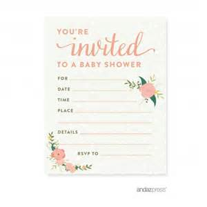 floral roses baby shower blank invitations