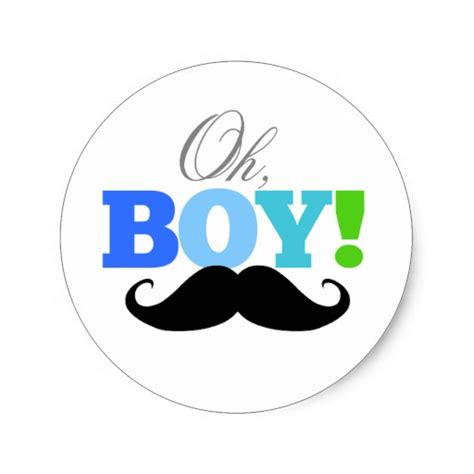 Mustache Baby Shower by Oh Boy Mustache Baby Shower Invitations Sticker Zazzle