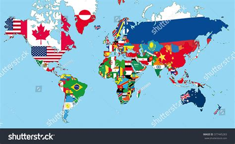 world map with states world map all states their flags stock vector 377445283