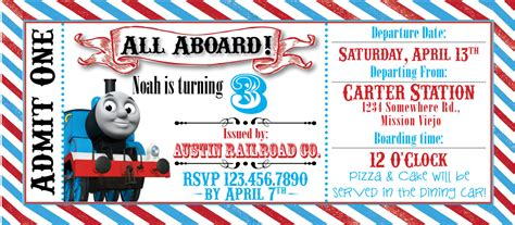 thomas the train ticket party invitation by rawkonversations