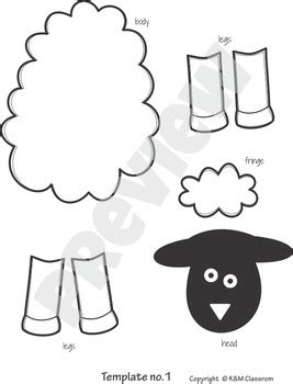 sheep craft template cut  paste  km classroom tpt